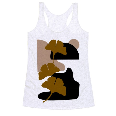 Minimalist Ginkgo Leaf Illustration Racerback Tank Top