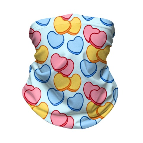 Candy Hearts Mask Blue Neck Gaiter