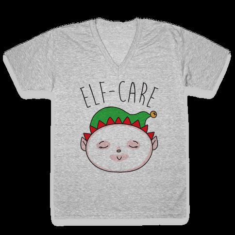 Elf-Care Elf Self-Care Christmas Parody V-Neck Tee Shirt
