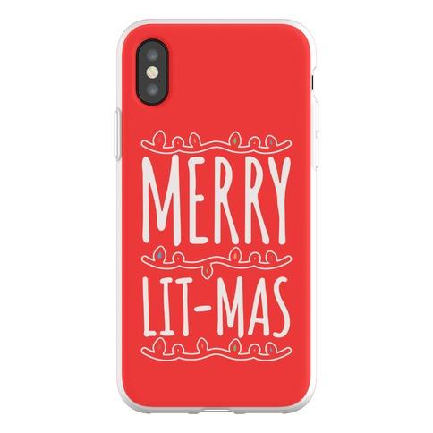 Merry Lit-mas White Font Phone Flexi-Case