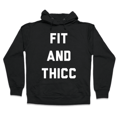 Fit and Thicc White Print  Hooded Sweatshirt