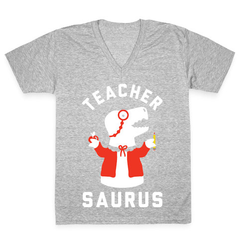 Teacher Saurus cardigan V-Neck Tee Shirt