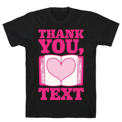 Thank You Text Book Parody White Print T-Shirt