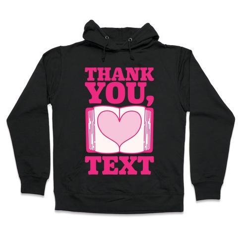Thank You Text Book Parody White Print Hooded Sweatshirt