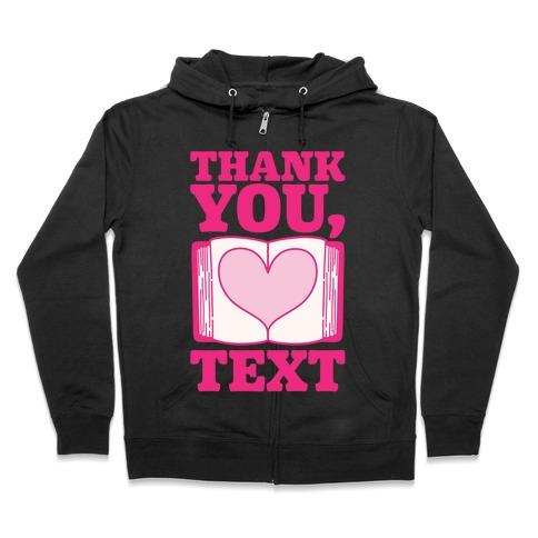 Thank You Text Book Parody White Print Zip Hoodie