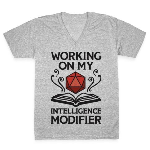 Working On My Intelligence Modifier V-Neck Tee Shirt