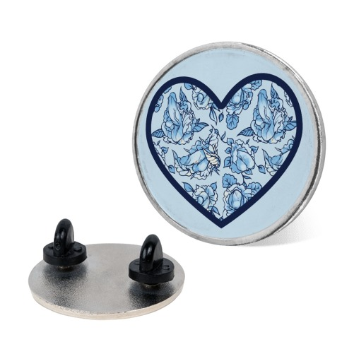 Floral Penis Pattern Heart Pin