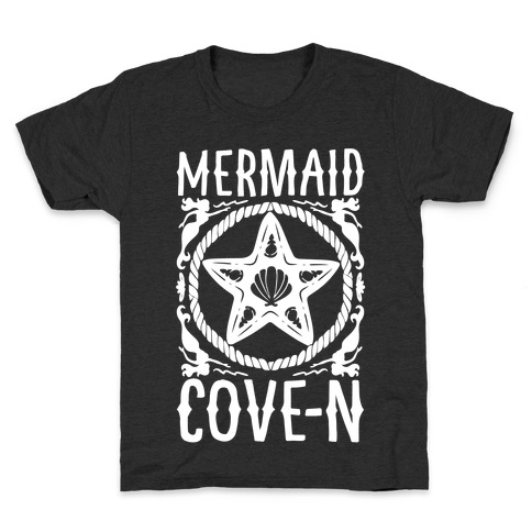 Mermaid Cove-n White Print Kids T-Shirt