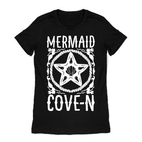 Mermaid Cove-n White Print Womens T-Shirt