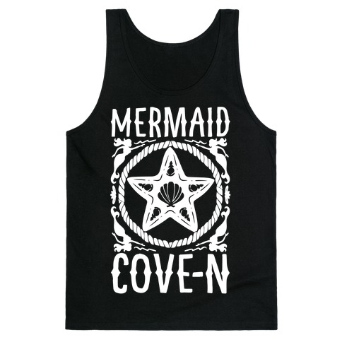 Mermaid Cove-n White Print Tank Top