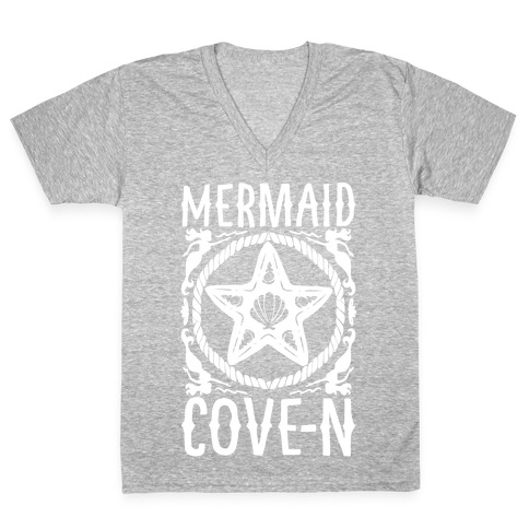 Mermaid Cove-n White Print V-Neck Tee Shirt