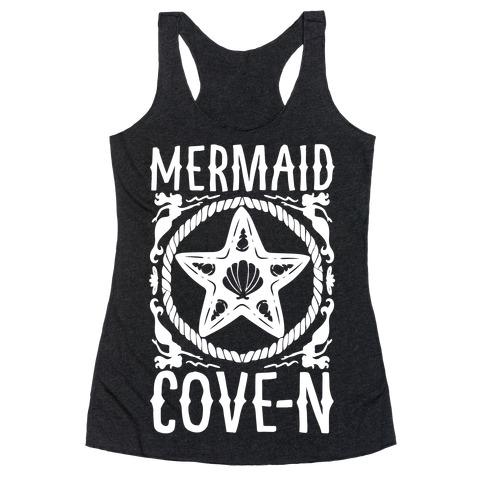 Mermaid Cove-n White Print Racerback Tank Top
