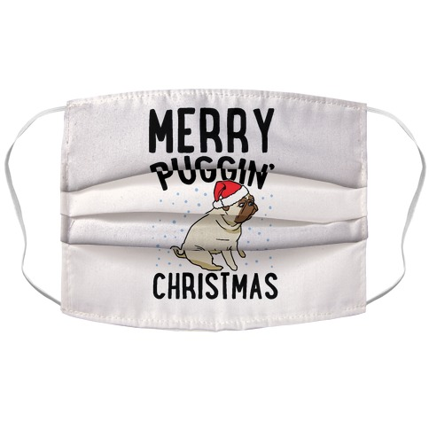 Merry Puggin' Christmas Pug  Accordion Face Mask