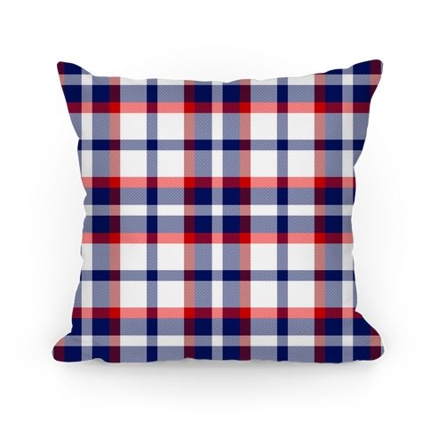 Red white and blue Plaid Pillow