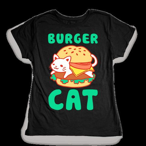 Burger Cat (Text) Womens T-Shirt