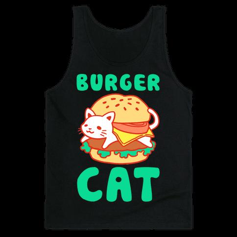 Burger Cat (Text) Tank Top