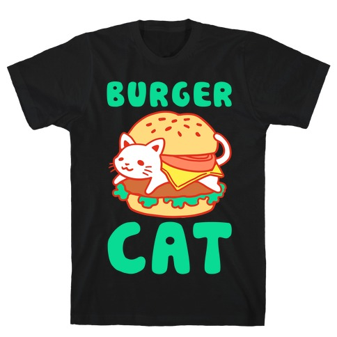 Burger Cat (Text) Mens T-Shirt
