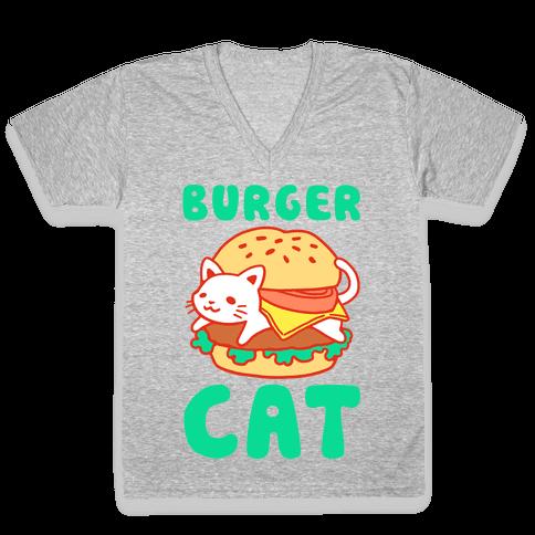 Burger Cat (Text) V-Neck Tee Shirt