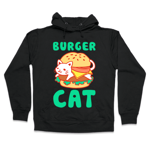 Burger Cat (Text) Hooded Sweatshirt