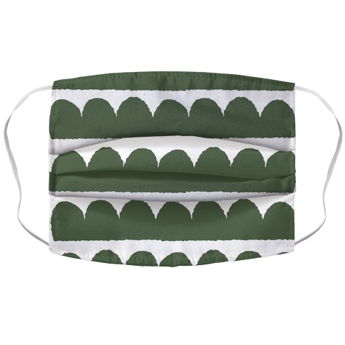 Simple Scalloped Lines Pattern Green Accordion Face Mask