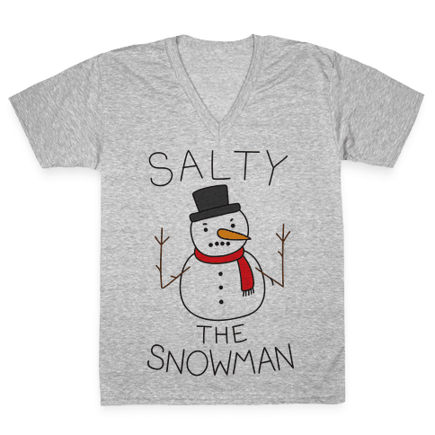 Salty The Snowman  V-Neck Tee Shirt