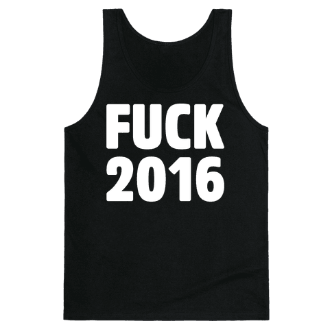 F*** 2016 White Print Tank Top