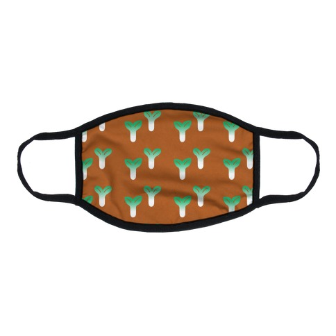 Little Sprouts Rust Orange Pattern Flat Face Mask