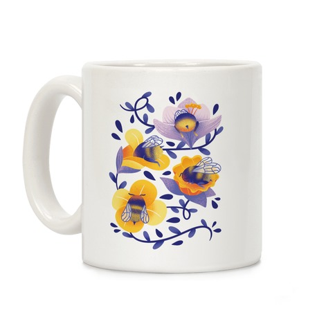 Sleepy Bumble Bee Butts Floral Coffee Mug