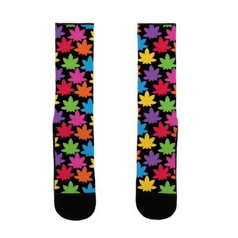 Rainbow Pot Leaf Pattern Sock