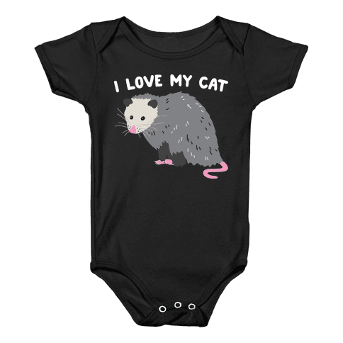 I Love My Cat Opossum Baby Onesy