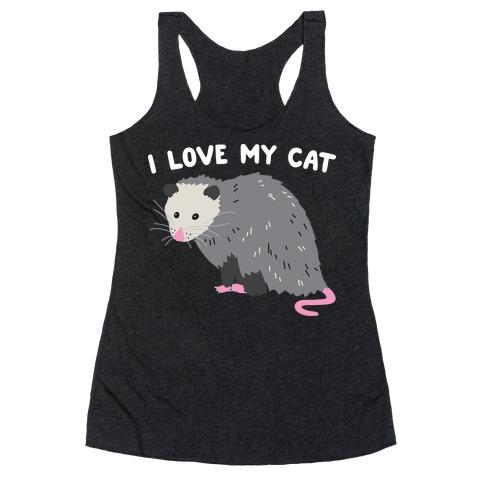 I Love My Cat Opossum Racerback Tank Top