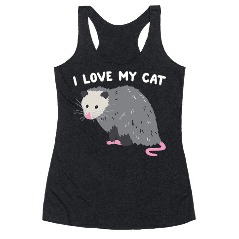 I Love My Cat Opossum Racerback Tank Top