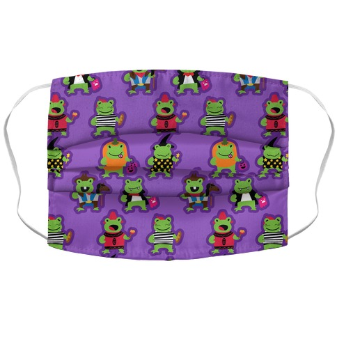 Hoppy Halloween Frogs Pattern Accordion Face Mask