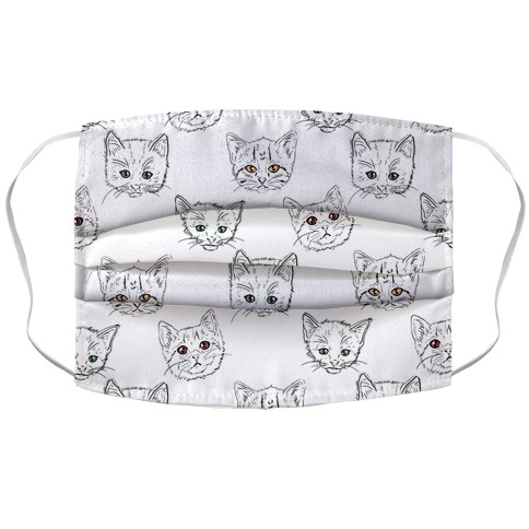 Colorful Eyed Kitten Pattern Accordion Face Mask