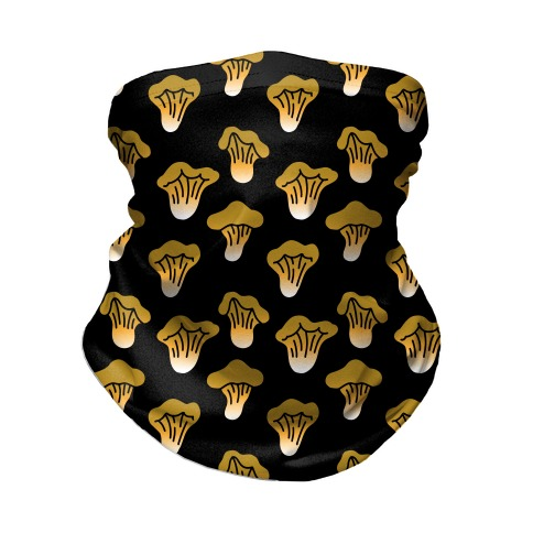 Golden Oyster Mushroom Black Pattern Neck Gaiter