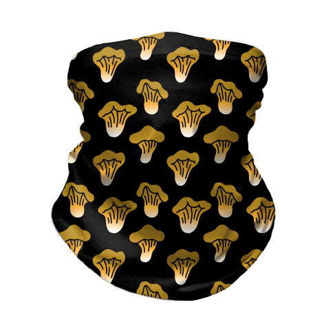 Golden Oyster Mushroom Black Pattern Neck Gaiter