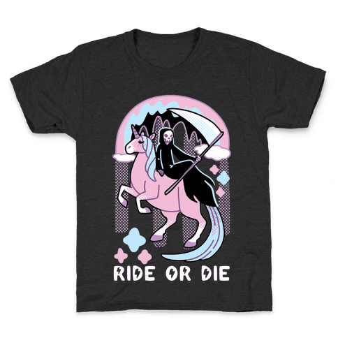Ride or Die - Grim Reaper and Unicorn Kids T-Shirt