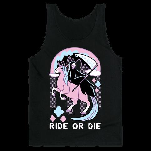 Ride or Die - Grim Reaper and Unicorn Tank Top