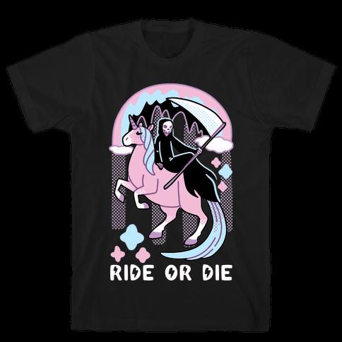 Ride or Die - Grim Reaper and Unicorn Mens/Unisex T-Shirt