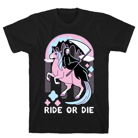 Ride or Die - Grim Reaper and Unicorn Mens/Unisex T-Shirt