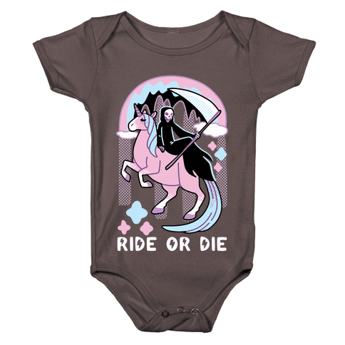 Ride or Die - Grim Reaper and Unicorn Baby One-Piece