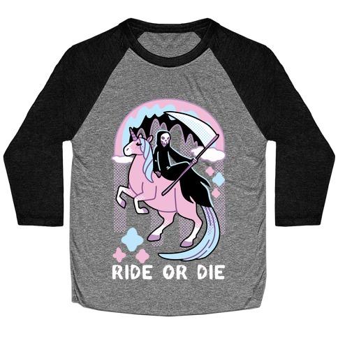 Ride or Die - Grim Reaper and Unicorn Baseball Tee