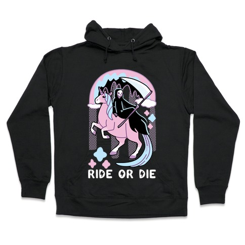 Ride or Die - Grim Reaper and Unicorn Hooded Sweatshirt