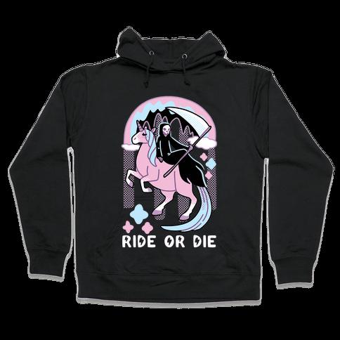 Ride or Die - Grim Reaper and Unicorn Hooded Sweatshirt