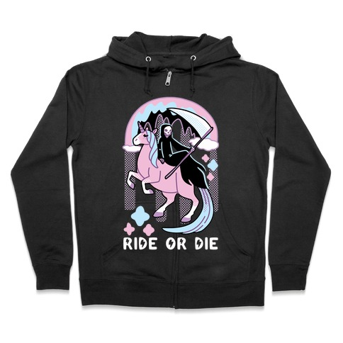 Ride or Die - Grim Reaper and Unicorn Zip Hoodie