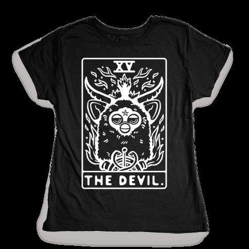 The Devil Tarot Card Furby Womens T-Shirt