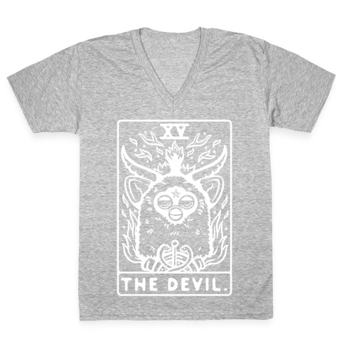 The Devil Tarot Card Furby V-Neck Tee Shirt