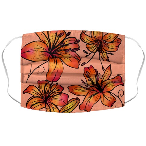 Peachy Tiger Lillies Pattern Accordion Face Mask