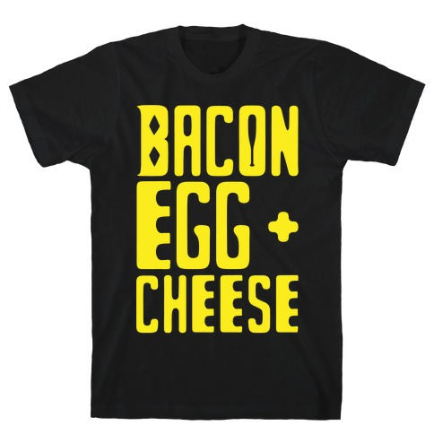 Bacon Egg + Cheese BOP Parody White Print T-Shirt