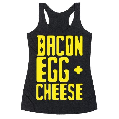 Bacon Egg + Cheese BOP Parody White Print Racerback Tank Top